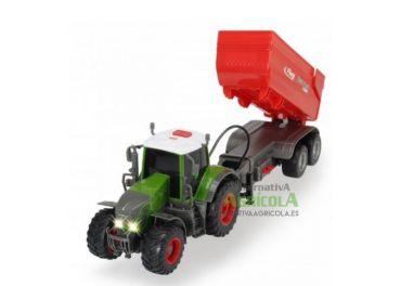 Tractor juguete Dickie Fendt 939 Vario con remolque elevación eléctrica escala 1:32