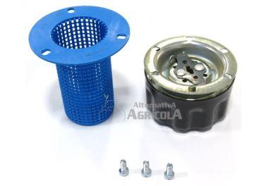 Tapón metálico media vuelta con filtro cesta para depósitos aceite hidráulico