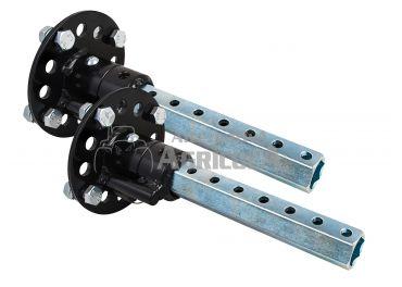 Ejes desplazables universales con desbloqueo para rueda neumática y metálica Ø 28 mm redondo