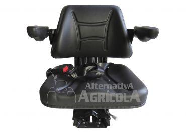 Asiento PVC negro con base suspensión mecánica y cinturón de seguridad